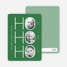 Multi Photo Holiday Cards: Ho Ho Ho - Forest Green