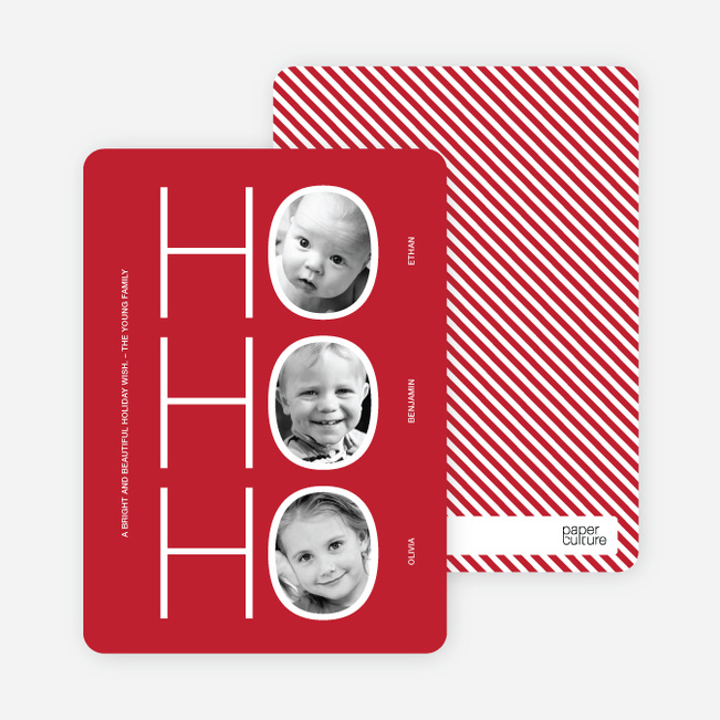 Multi Photo Holiday Cards: Ho Ho Ho - Cherry