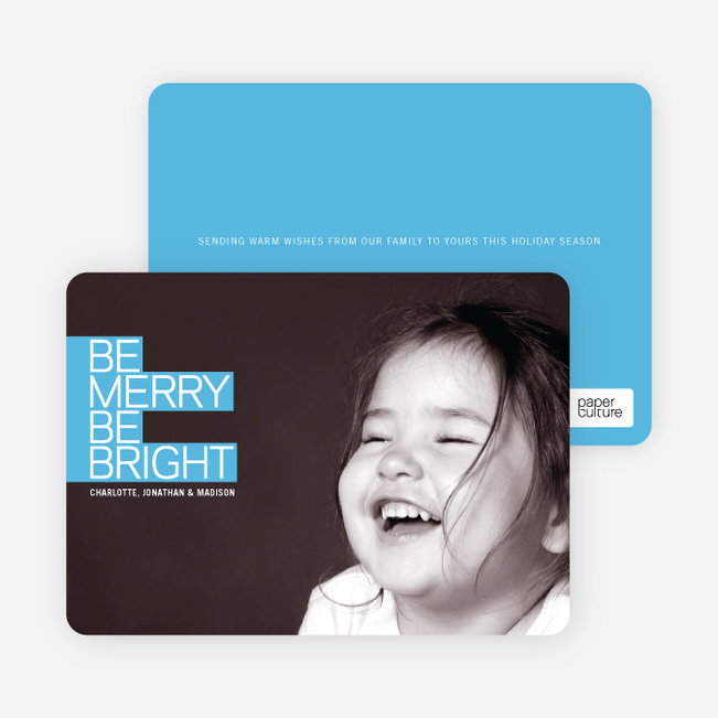 Be Merry Be Bright Prize Winning Holiday Photo Card - Cornflower Blue