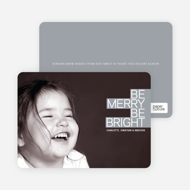 Be Merry Be Bright Prize Winning Holiday Photo Card - Shamrock Green