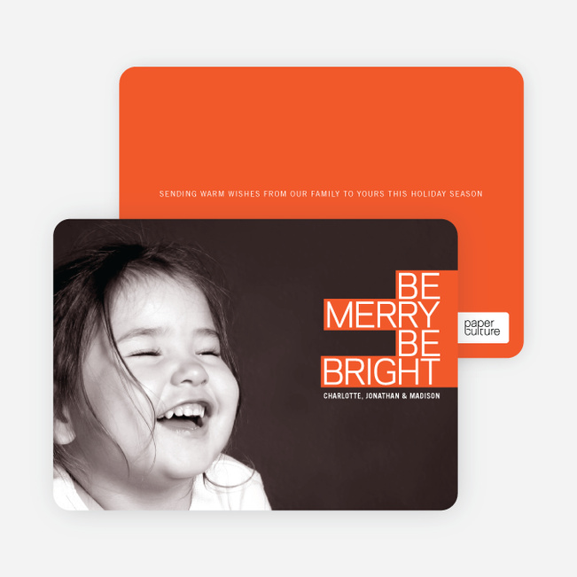 Be Merry Be Bright Prize Winning Holiday Photo Card - Tangerine Orange
