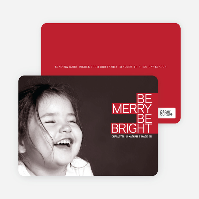 Holiday Cards: Be Merry Be Bright - Cherry Red