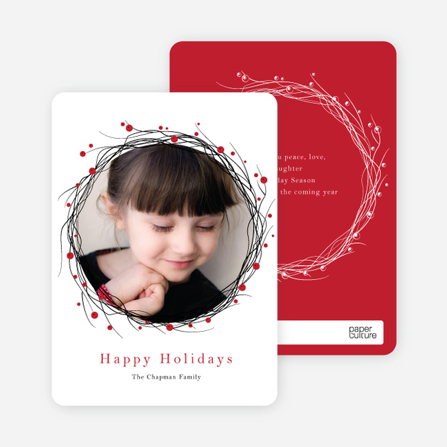 Berry Wreath Holiday Cards - Red