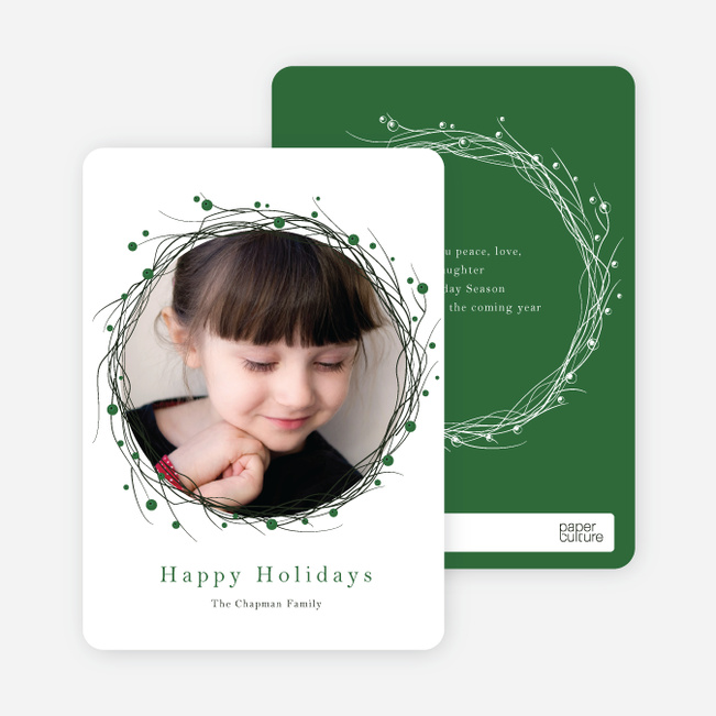 Berry Wreath Holiday Cards - Green