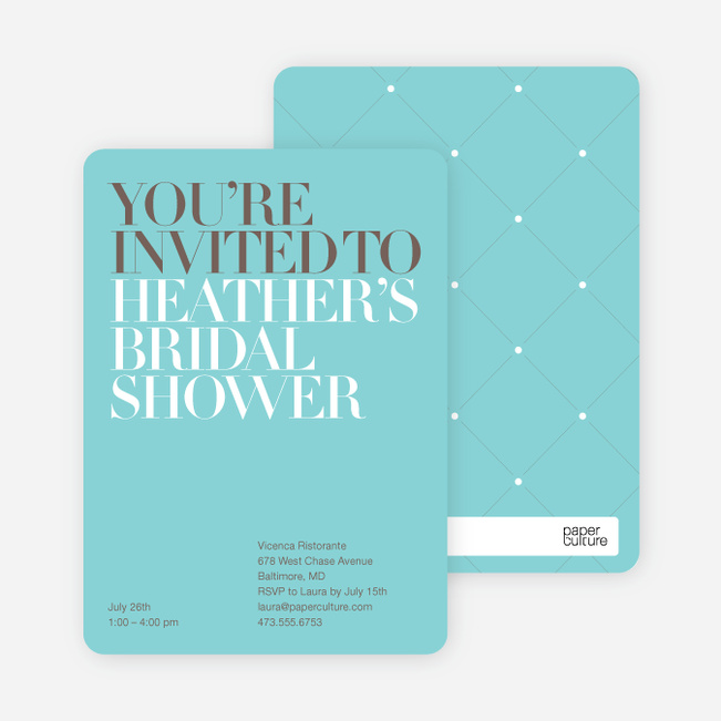 bold letters bridal shower invitations azure