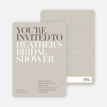 Bold Letters Bridal Shower Invites - Sand