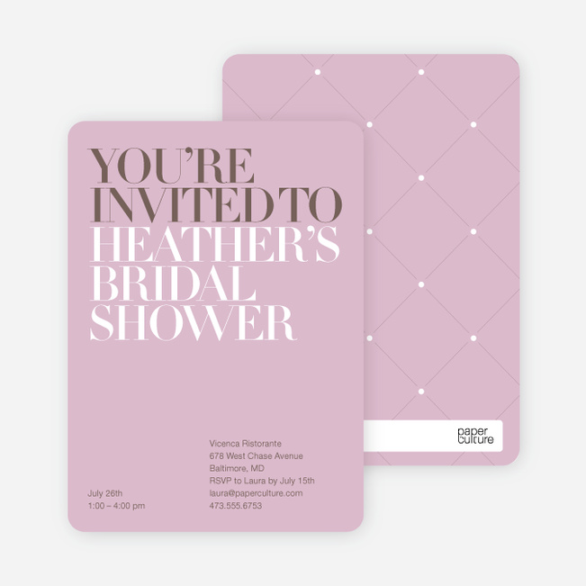 Bold Letters Bridal Shower Invitations - Lavender