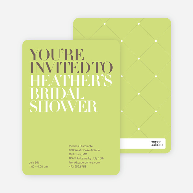 Bold Letters Bridal Shower Invitations - Lime Green