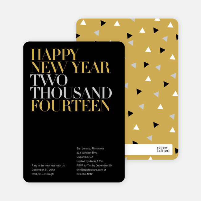 Bold New Year's Eve Party Invitations - Charcoal