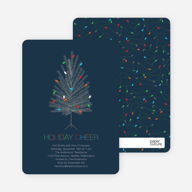 Colorful Christmas Tree Holiday Party Invitations - Navy
