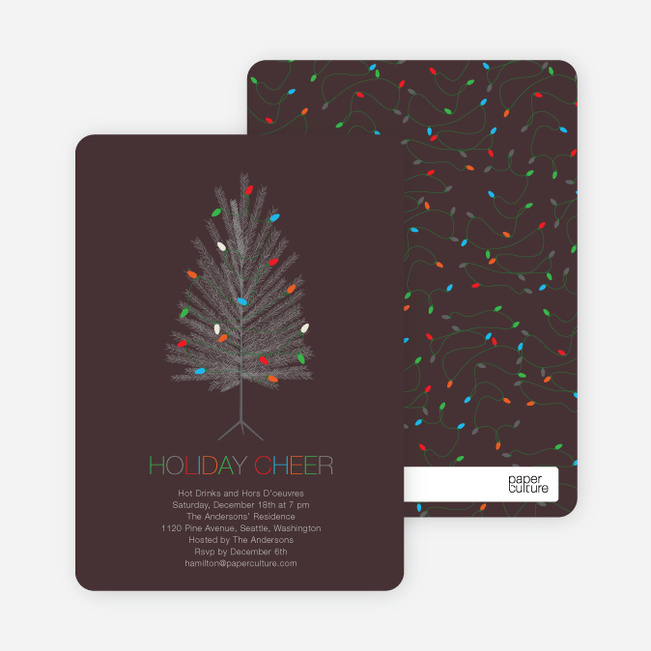 Colorful Christmas Tree Holiday Party Invitations - Walnut