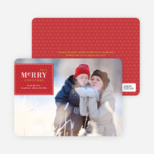 Merry Christmas Badge – Modern Holiday Photo Card - Raspberry
