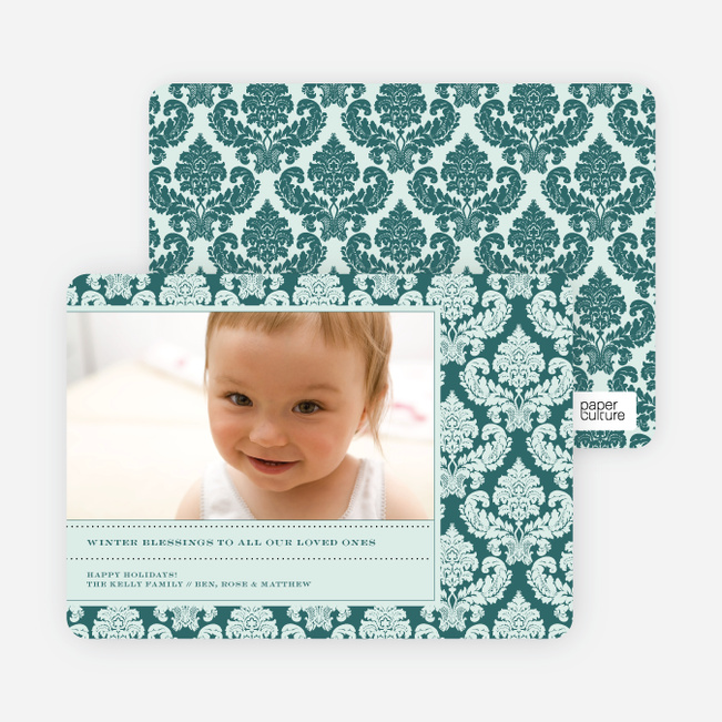 Modern Fleur–de–lis Holiday Photo Cards - Mint