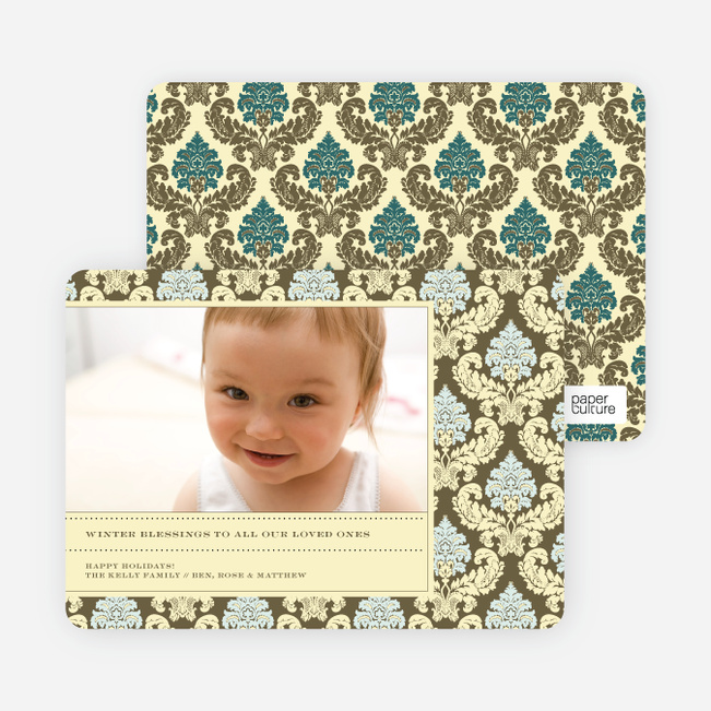 Holiday Photo Cards: Fleur–de–lis - Lemon Chiffon
