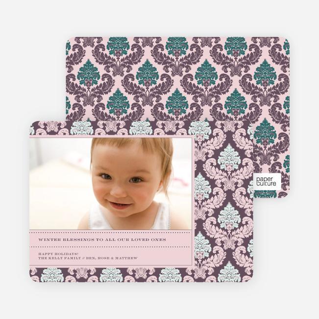 Modern Fleur-de-lis Holiday Photo Cards - Tea Rose
