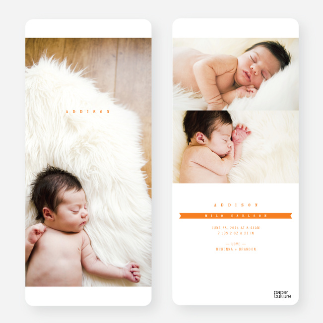Simply Classic Photo Birth Announcements - Orange