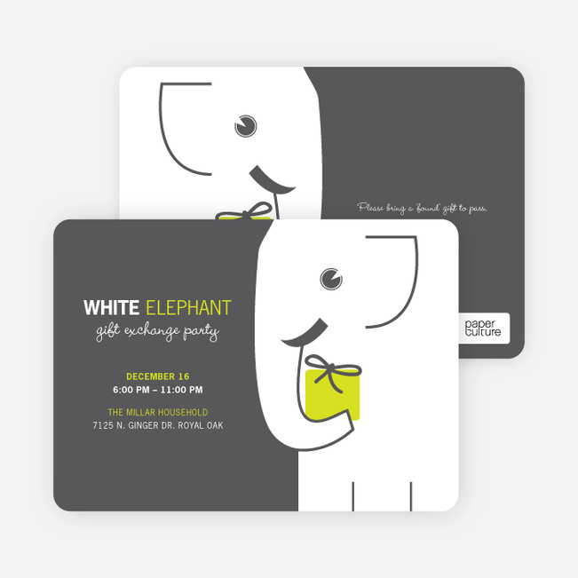 White Elephant on Tiny Prints for White Elephant Parties - Absinthe