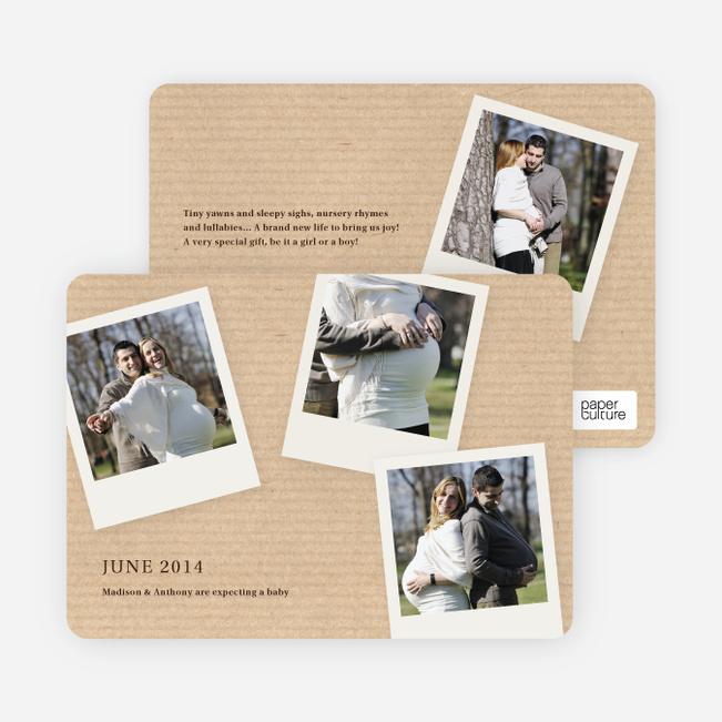 4 Photo Polaroid Pregnancy Announcements - Brown Corrugate