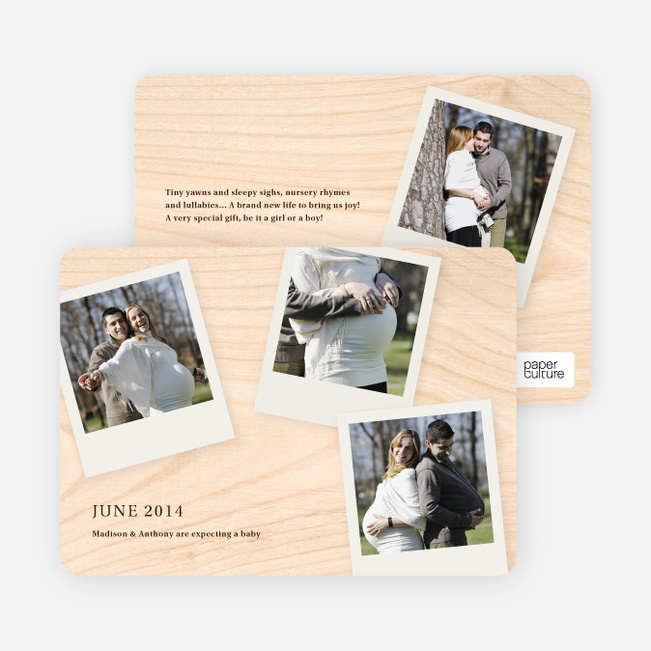 4 Photo Polaroid Pregnancy Announcements - Plywood
