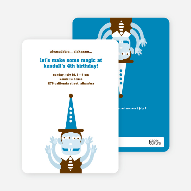 Abracadabra Magic Birthday Invitation - Cyan