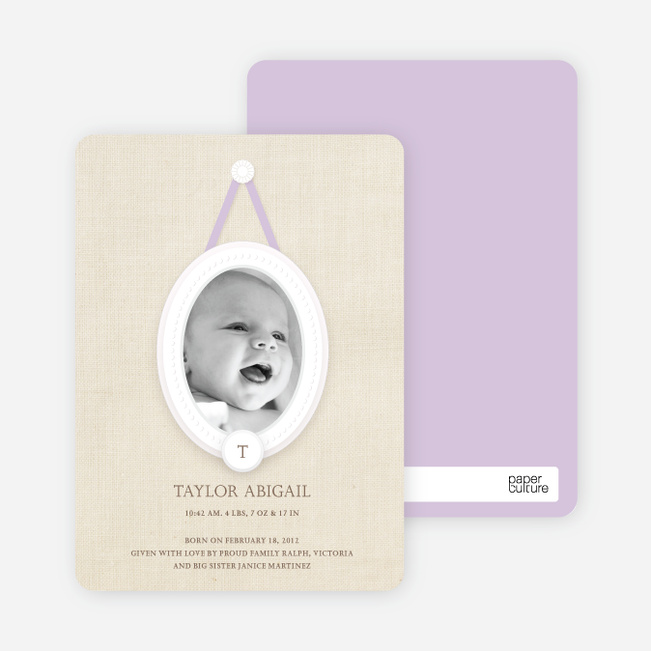Antique Monogram Birth Announcements - Lilac