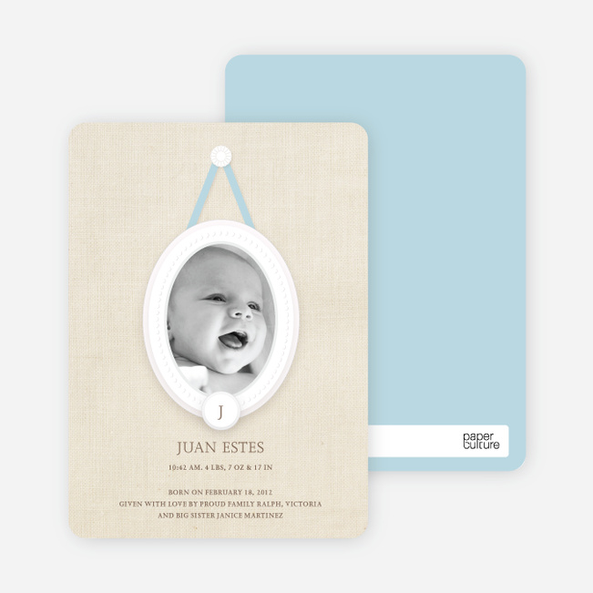 Antique Monogram Birth Announcements - Aquamarine