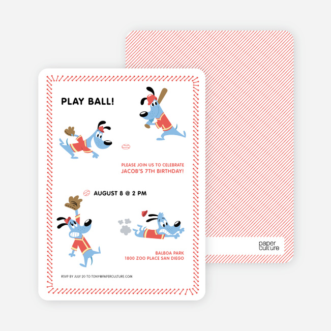Babe Woof: Baseball Themed Party Invitations - Persimmon