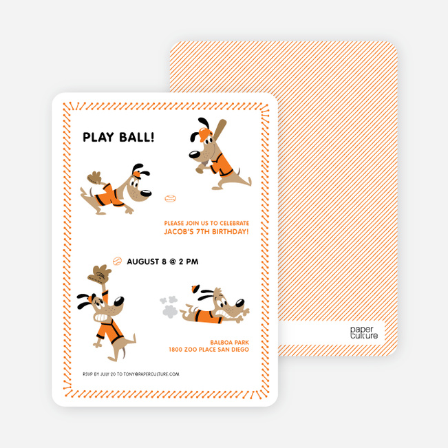 Babe Woof: Baseball Themed Party Invitations - Papaya