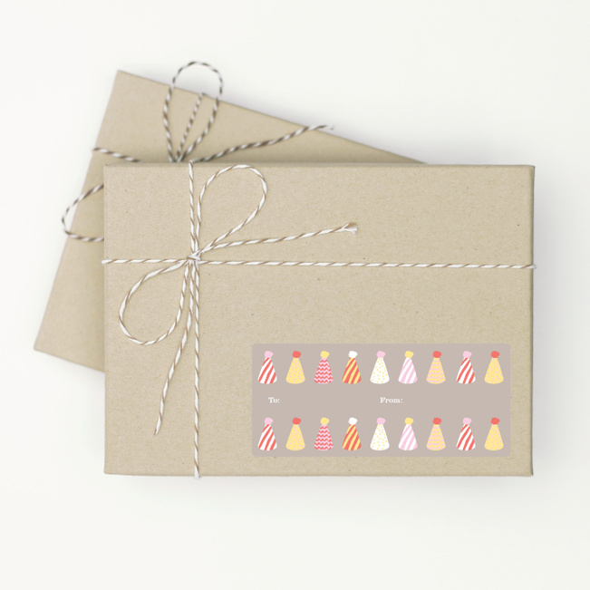 Birthday Hat Gift Tag Stickers - Pink