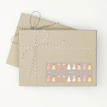 Birthday Hat Gift Tag Stickers - Orange