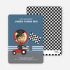 Birthday Invitation for future Daytona, Indianapolis and NASCAR Racers - Steel Blue