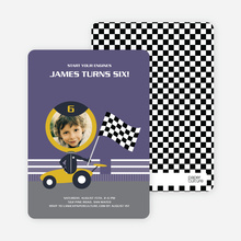 Birthday Invitation for future Daytona, Indianapolis and NASCAR Racers - Slate Purple