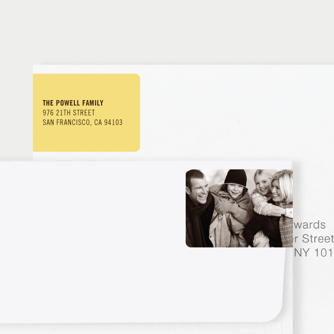 Black Horizontal Photo Left Return Address Labels - Yellow