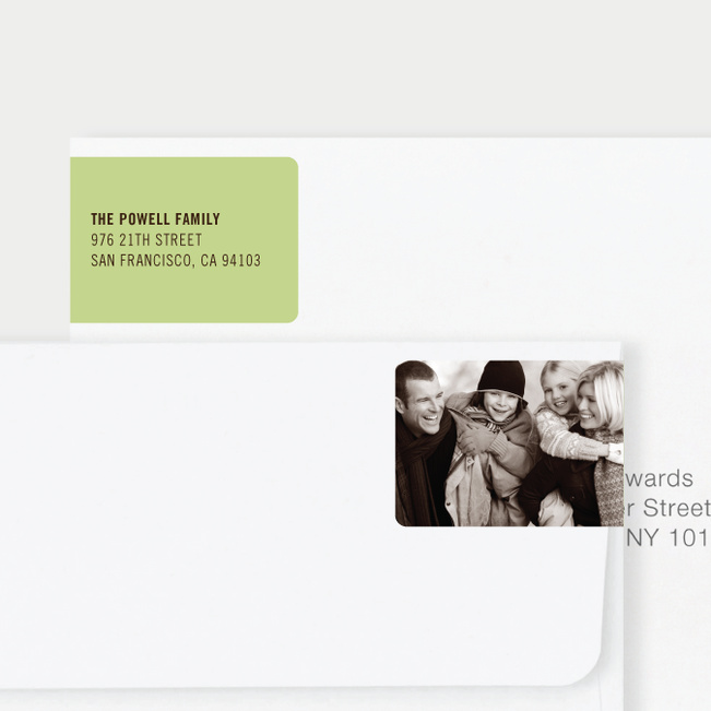 Black Horizontal Photo Left Return Address Labels - Green