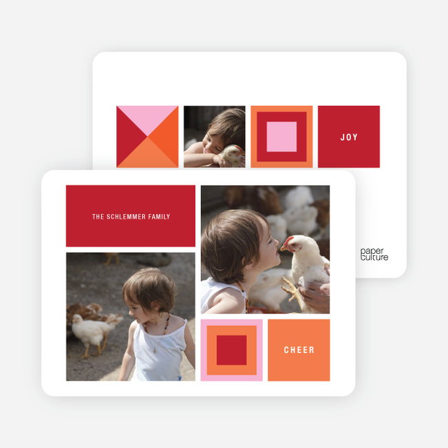Blocks and Picks Holiday Photo Cards - Raspberry