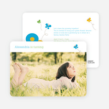 Butterflies and Flowers Modern Birthday Invitation - Cyan