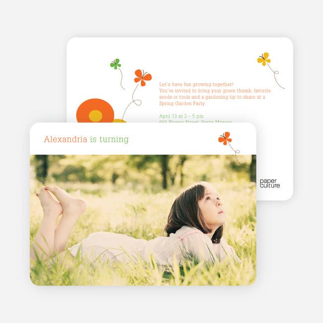 Butterflies and Flowers Modern Birthday Invitation - Orange