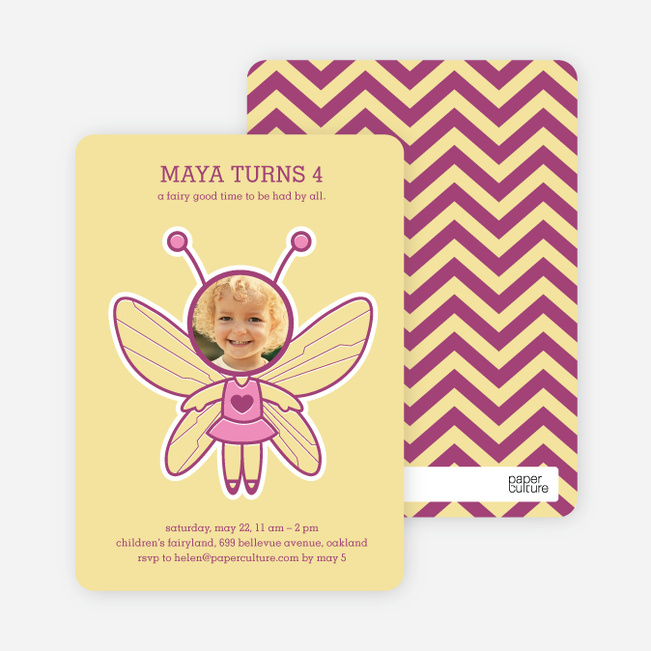 Butterfly Birthday Party Invitations with a Photo - Butter