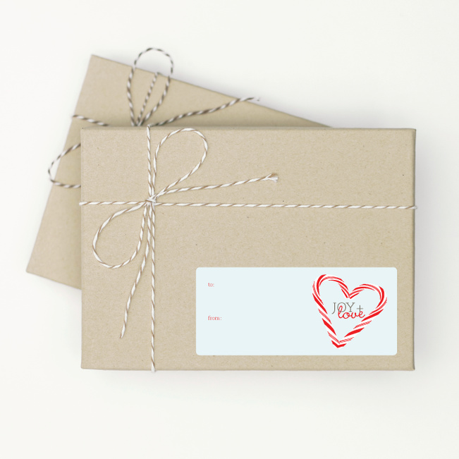 Candy Cane Joy & Love Tags - Blue