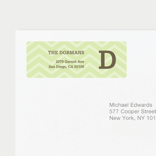 Chevron Pattern Return Address Labels - Green