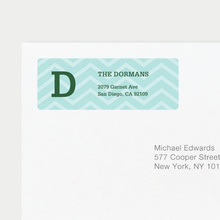 Chevron Pattern Return Address Labels - Blue