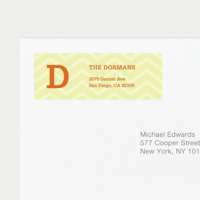 Chevron Pattern Return Address Labels - Yellow