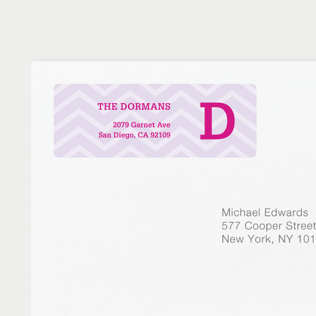 Chevron Pattern Return Address Labels - Purple