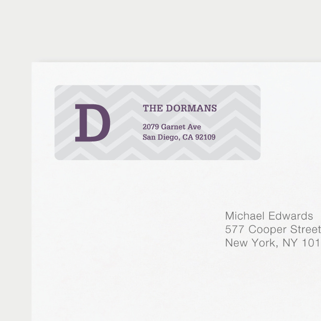 Chevron Pattern Return Address Labels - Gray