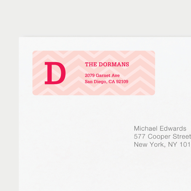 Chevron Pattern Return Address Labels - Pink