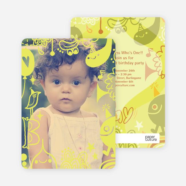 Child's Imagination Birthday Party Invitation - Pale Yellow