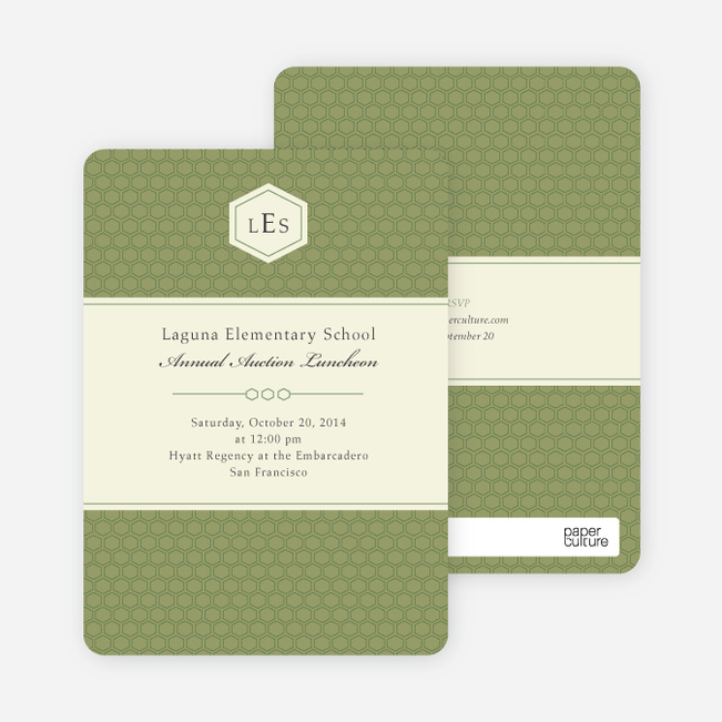 Classic Hexagon Party Invitations - Bamboo