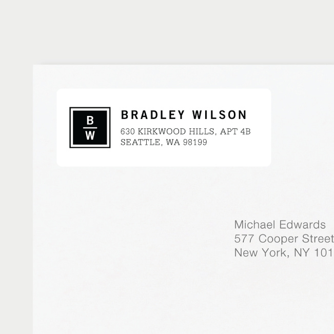 Classy Stacked Initial Return Address Labels - Black