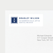 Classy Stacked Initial Return Address Labels - Blue