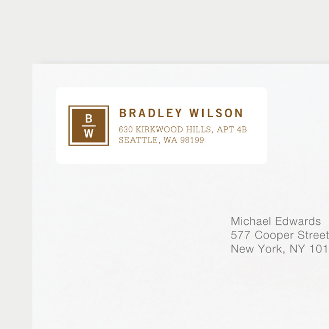 Classy Stacked Initial Return Address Labels - Brown
